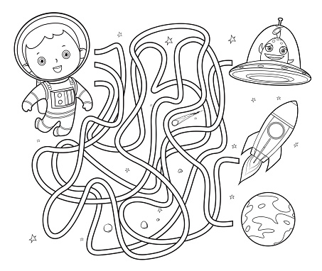 Black And White, Space maze for kids