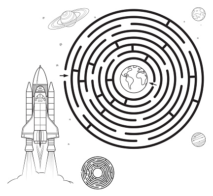 Black And White, Space maze puzzle or Labyrinth game for kids. Coloring page with Tangled road. Coloring book for kids