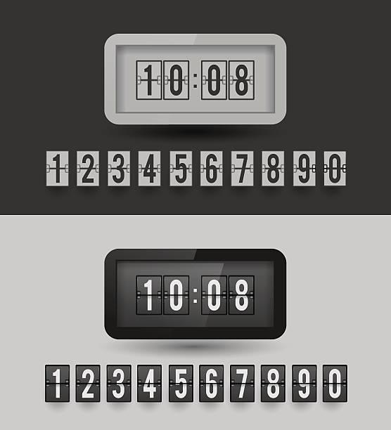 Black and white split-flip display clock. vector art illustration