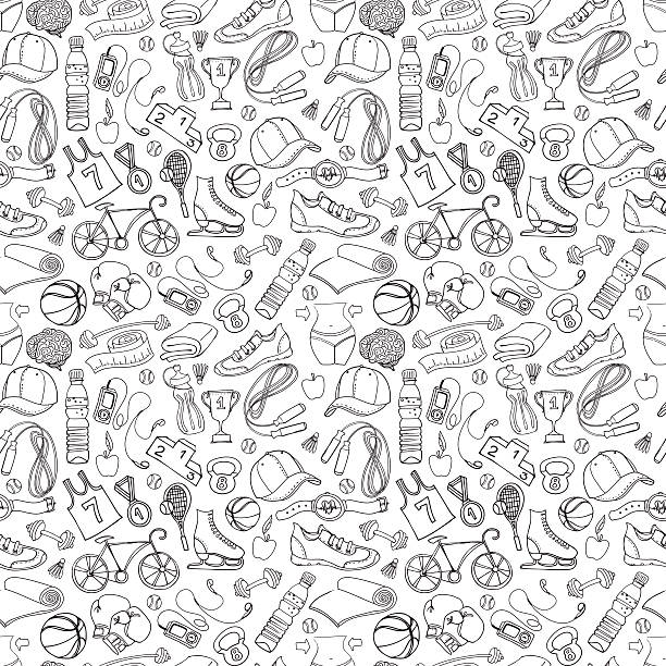 Black and white Sport and fitness seamless doodle pattern vector art illustration