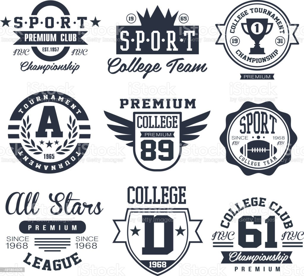 Black and White Sport Emblems, Logos Vector Illustration Set vector art illustration
