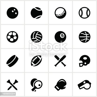 Equipment used in various sports. All white strokes/shapes are cut from the icons and merged allowing the background to show through.