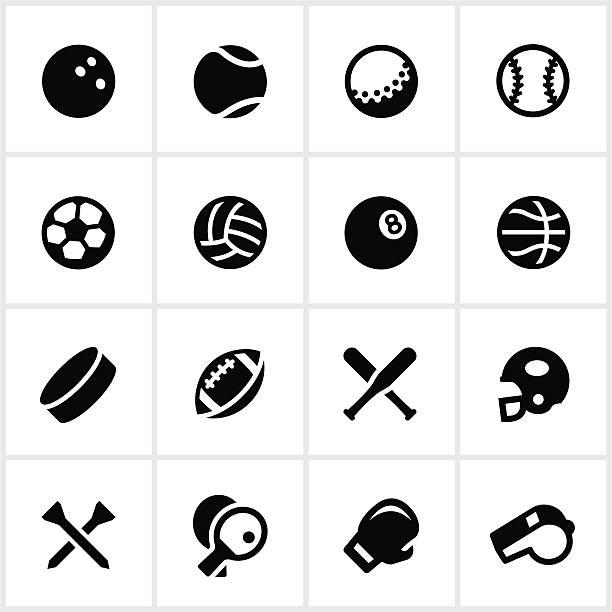 illustrazioni stock, clip art, cartoni animati e icone di tendenza di bianco e nero vettoriale set di icone attrezzatura sportiva - fischietto