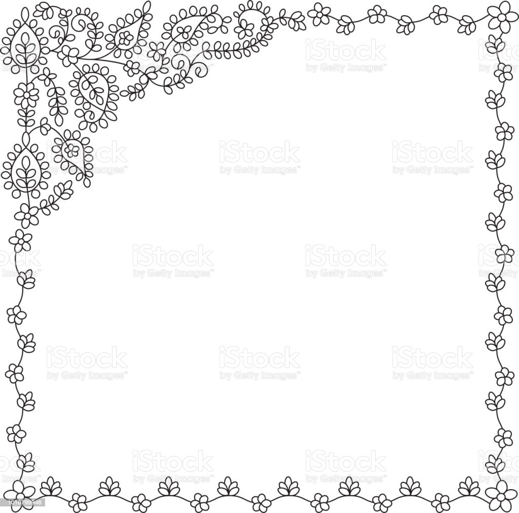 Ilustración de Marco Cuadrado Floral Blanco Y Negro Estilo Tailandés ...