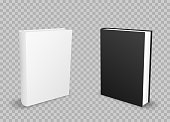 White and black standing empty books template with shadow on transparent background. School education object
