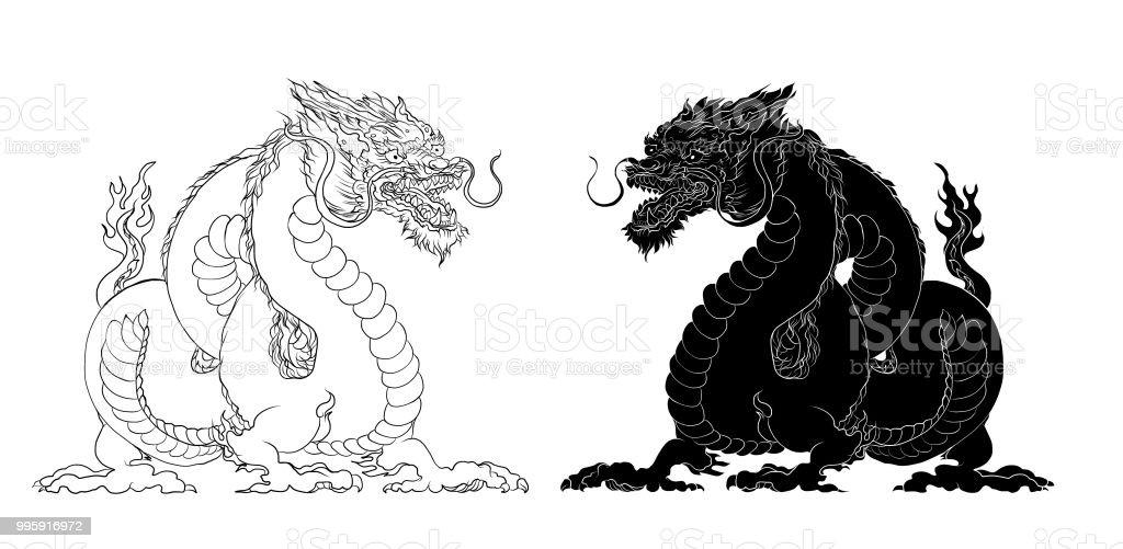 Ilustración de Dragón De La Etiqueta Engomada Blanco Y Negro Tatuaje ...