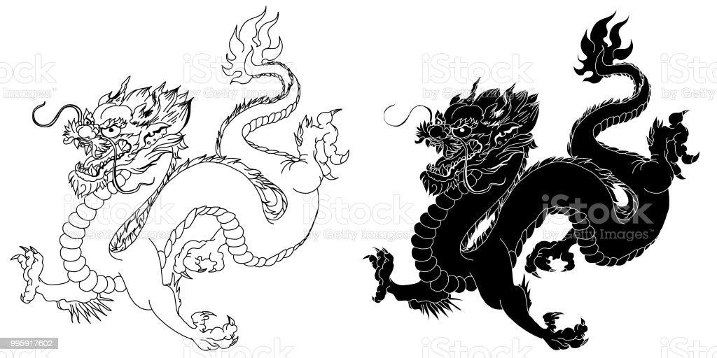 Schwarze Und Weiße Aufkleber Drache Chinesische Drachen Tattoo Stock ...