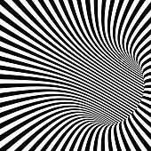 Black and White Striped Abstract Tunnel