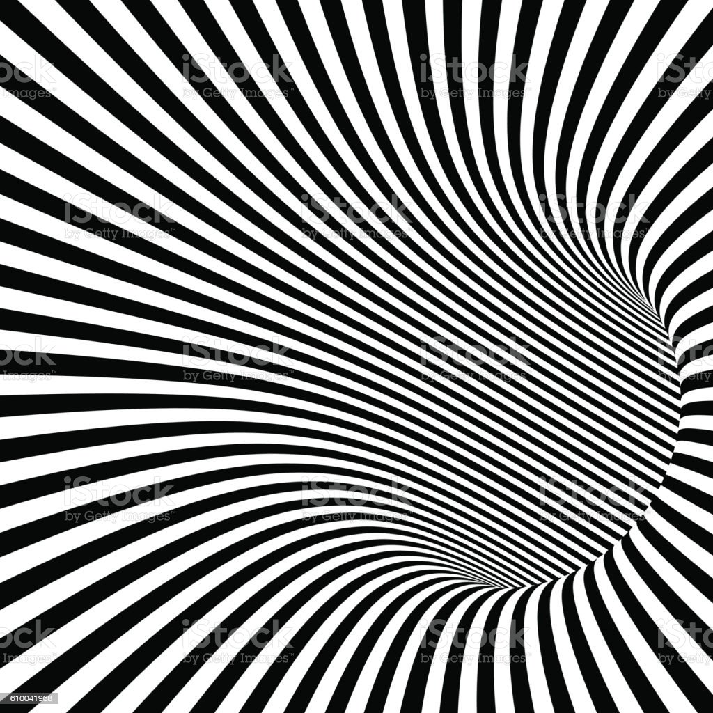 Black and White Striped Abstract Tunnel vector art illustration