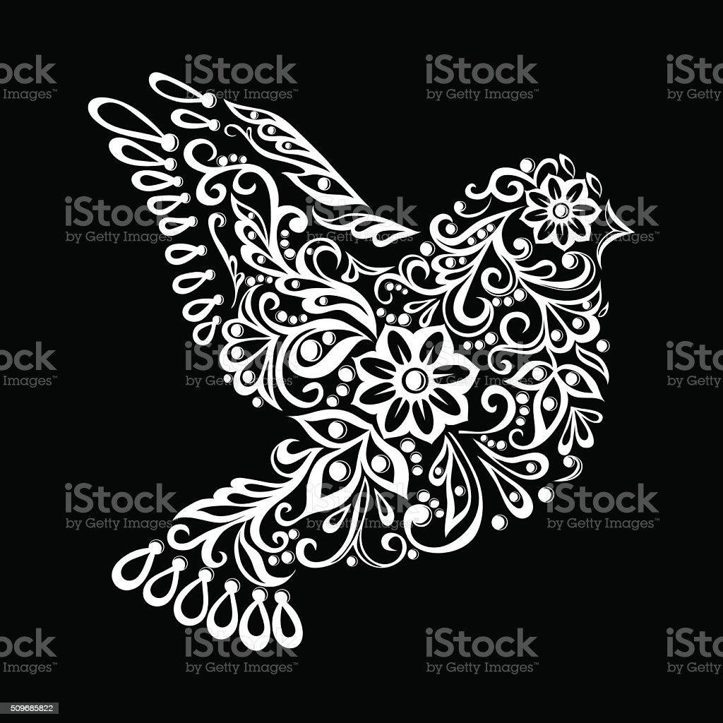 Croquis De Tatouage noir et blanc stylisé zentangle colombe croquis de tatouage vintage