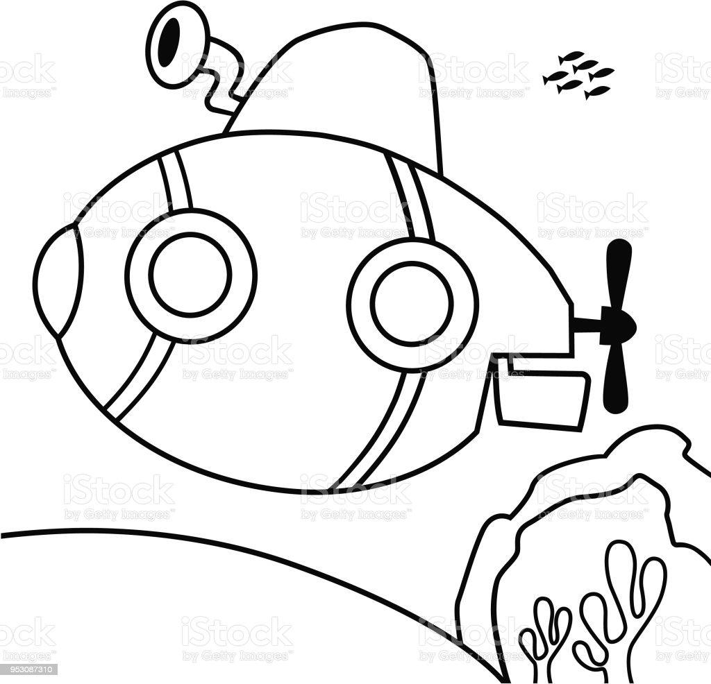 Siyah Ve Beyaz Denizaltı Vektör çizim Stok Vektör Sanatı Aktivite