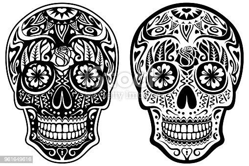 istock Black and White Sugar Skulls 961649616
