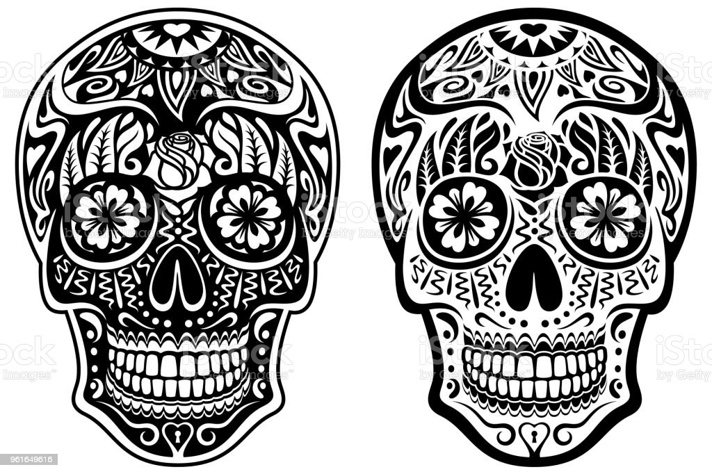 Black and White Sugar Skulls vector art illustration
