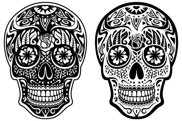 Black and White Sugar Skulls vector art illustration