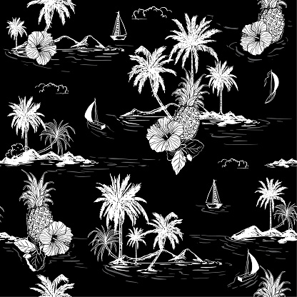 Black and white summer Island hawaiian mood hibiscus flower,plam trees ,ships,coconut tree ,wave in hand drawn style seamless pattern vector for fashion , fabric and all prints