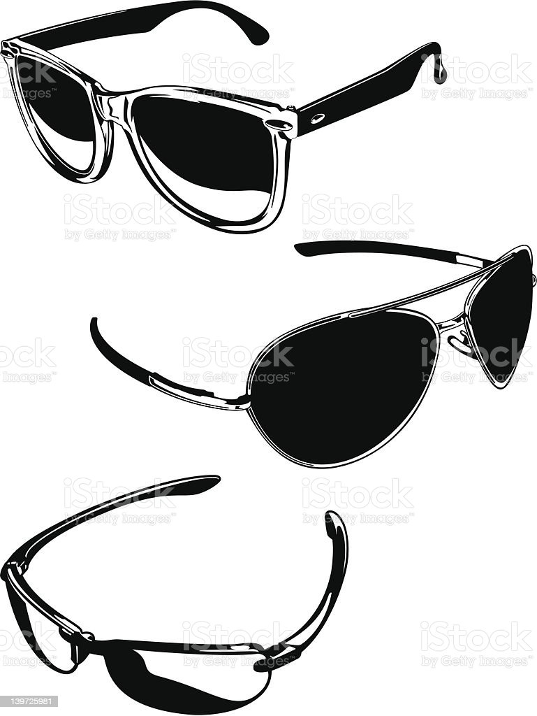 Black and White Sunglasses Set vector art illustration