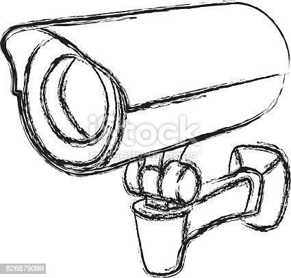 Black And White Surveillance Camera Warning Sign Stock