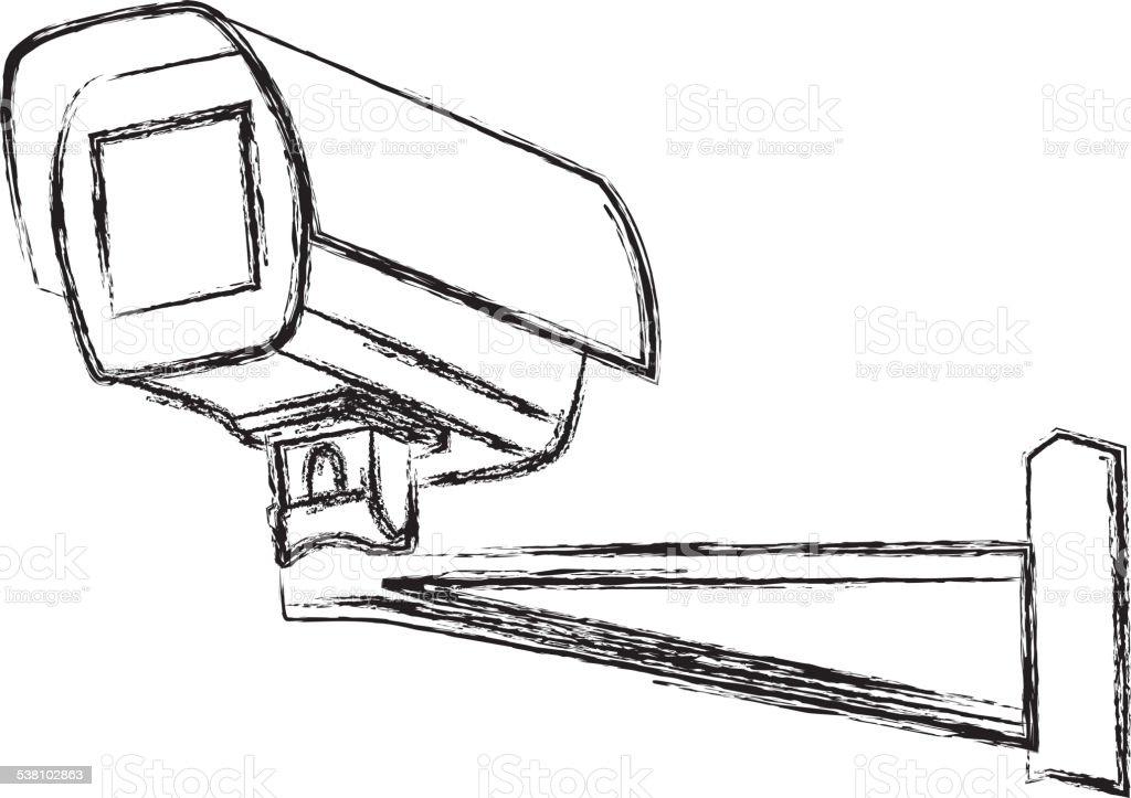 Black and White Surveillance Camera (CCTV) Warning Sign. Vector illustration vector art illustration