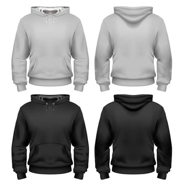 illustrazioni stock, clip art, cartoni animati e icone di tendenza di black and white sweatshirt template - giacca
