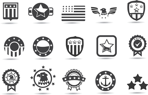Black and white symbols of American institutions