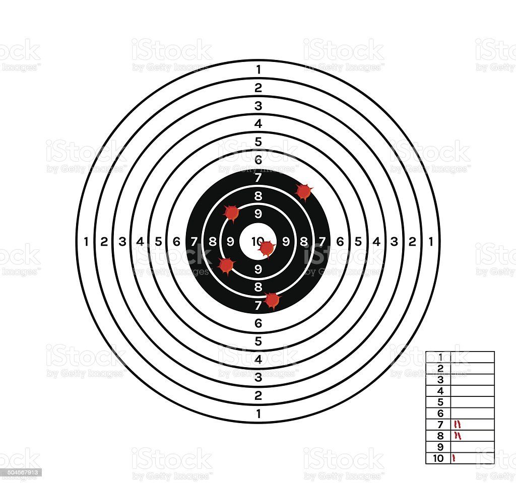 black and white target with red holes vector art illustration