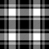 Black and white traditional tartan plaid seamless pattern background.