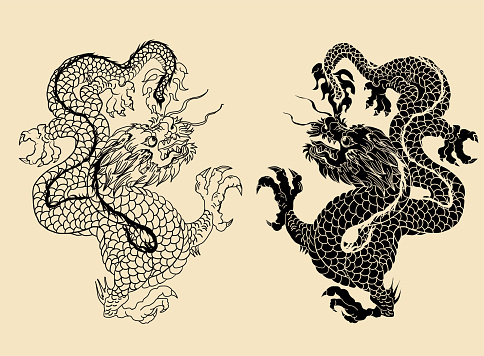 black and white tattoo and sticker for printing.Chinese dragon tattoo.Hand drawn zentangle style Chinese dragon and silhouette for tattoo