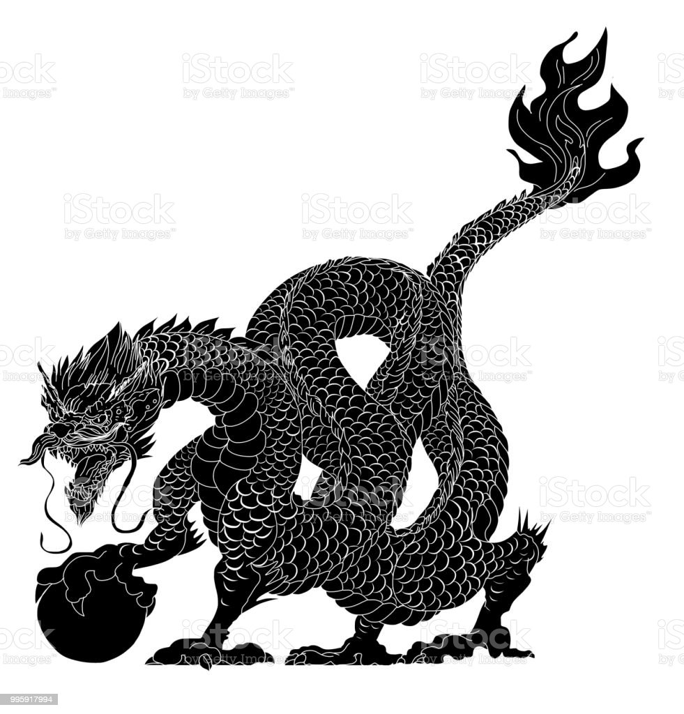 Black And White Tattoo And Sticker For Printingchinese Dragon