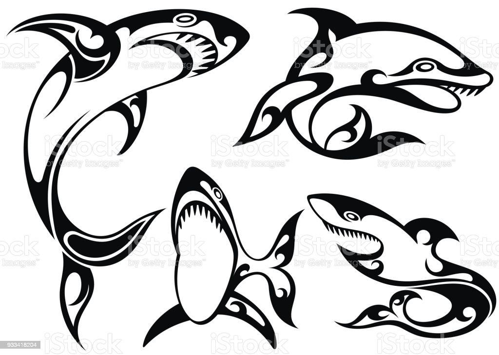 Silhouette Tatouage Noir Et Blanc De Requin Cliparts Vectoriels Et