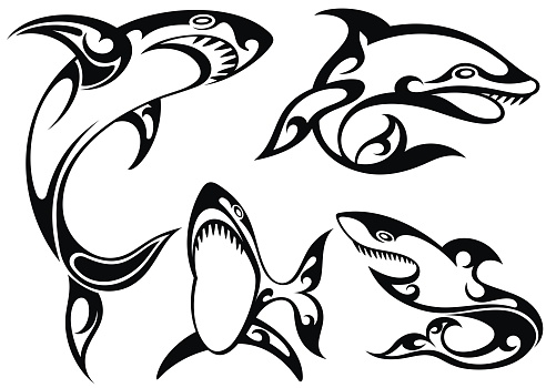 Black and white tattoo silhouette of sharks