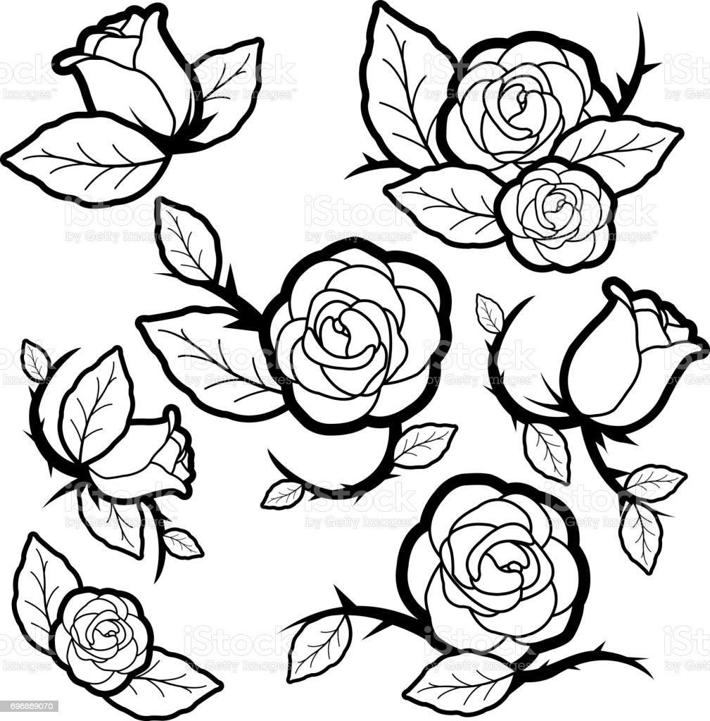 Ilustración De Capullos Y Rosas De Estilo Blanco Y Negro Del Tatuaje