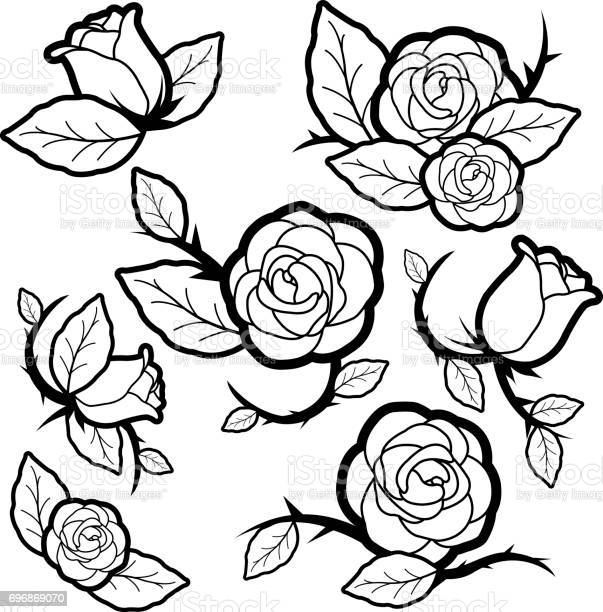Black and white tattoo style roses and buds vector id696869070?b=1&k=6&m=696869070&s=612x612&h=l4bflhkzbhkhzqiwffdalmefrk1hkhnk27v80je 3ou=