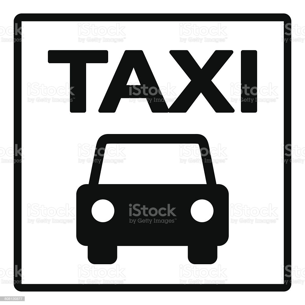 Black and White Taxi Sign vector art illustration
