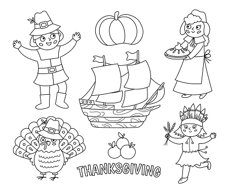 Black and white Thanksgiving Day characters set. Vector Autumn line icons collection with pilgrims, native Indian, ship, turkey, pumpkin. Cute outline fall holiday collection or coloring page