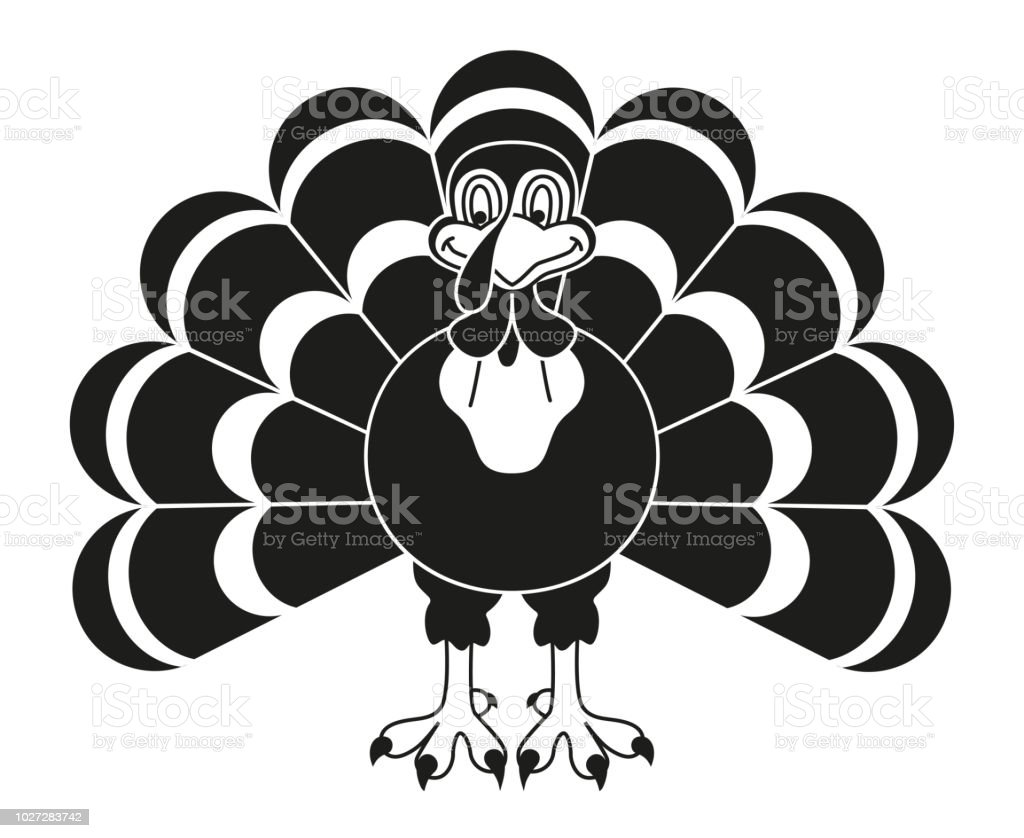 Black and white thanksgiving turkey silhouette royalty-free black and white thanksgiving turkey silhouette stock illustration - download image now