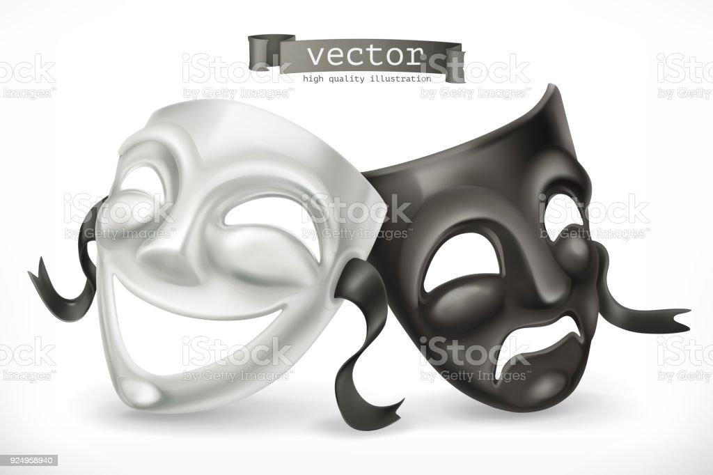 Schwarz / weiß Theatermasken. Komik und Tragik, 3d Vektor icon – Vektorgrafik