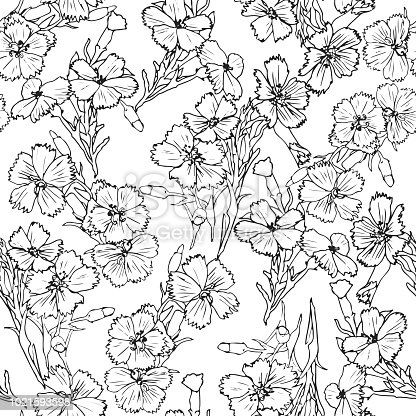 Black and white thin lines flowers pattern seamless flower black and white thin lines flowers pattern seamless flower background stock vector art more images of abstract 1021593598 istock mightylinksfo