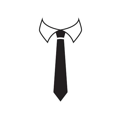 Black and white tie icon stock illustration