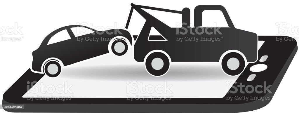 Black And White Tow And Roadside Assistance Icon Design Stock Vector