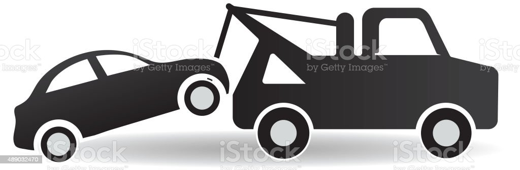 Black and white Tow and roadside assistance icon design vector art illustration