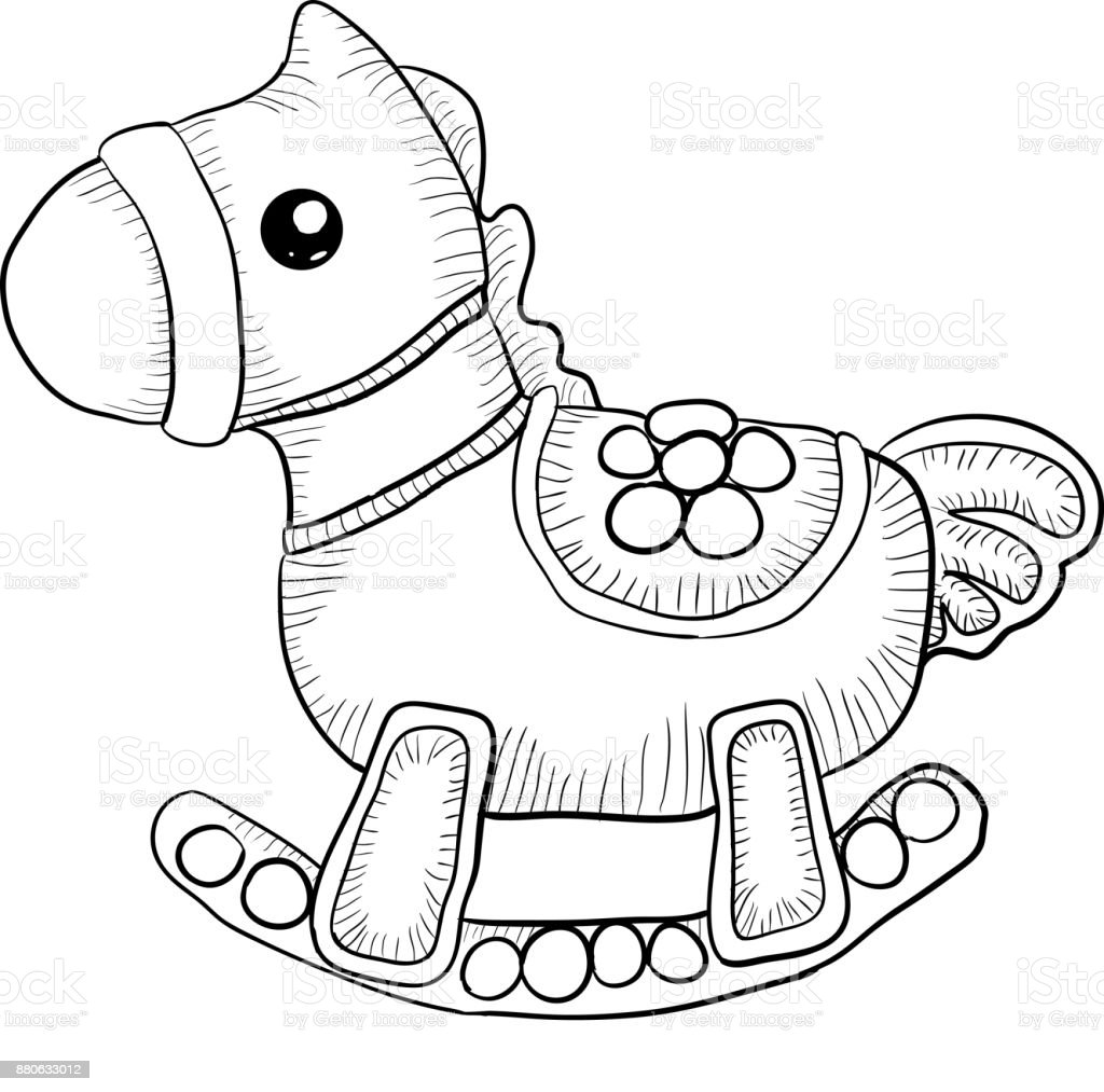 Black And White Toy Horse Stock Illustration Download Image Now Istock