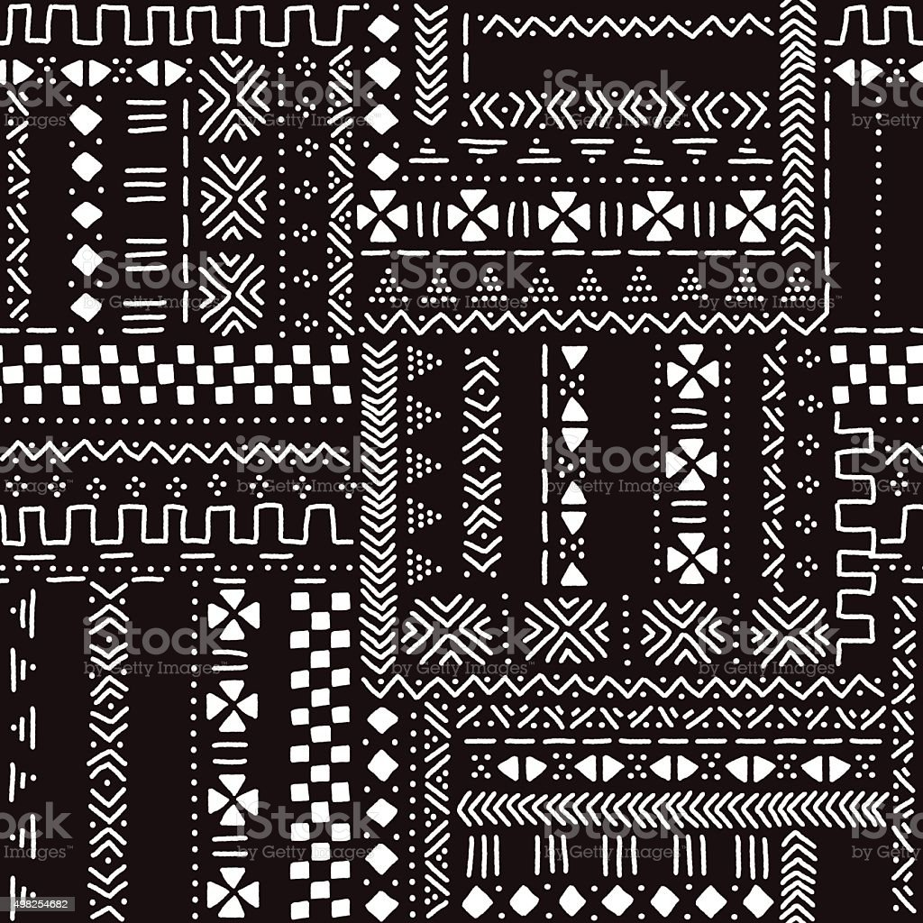 Authentic black and white  mud cloth