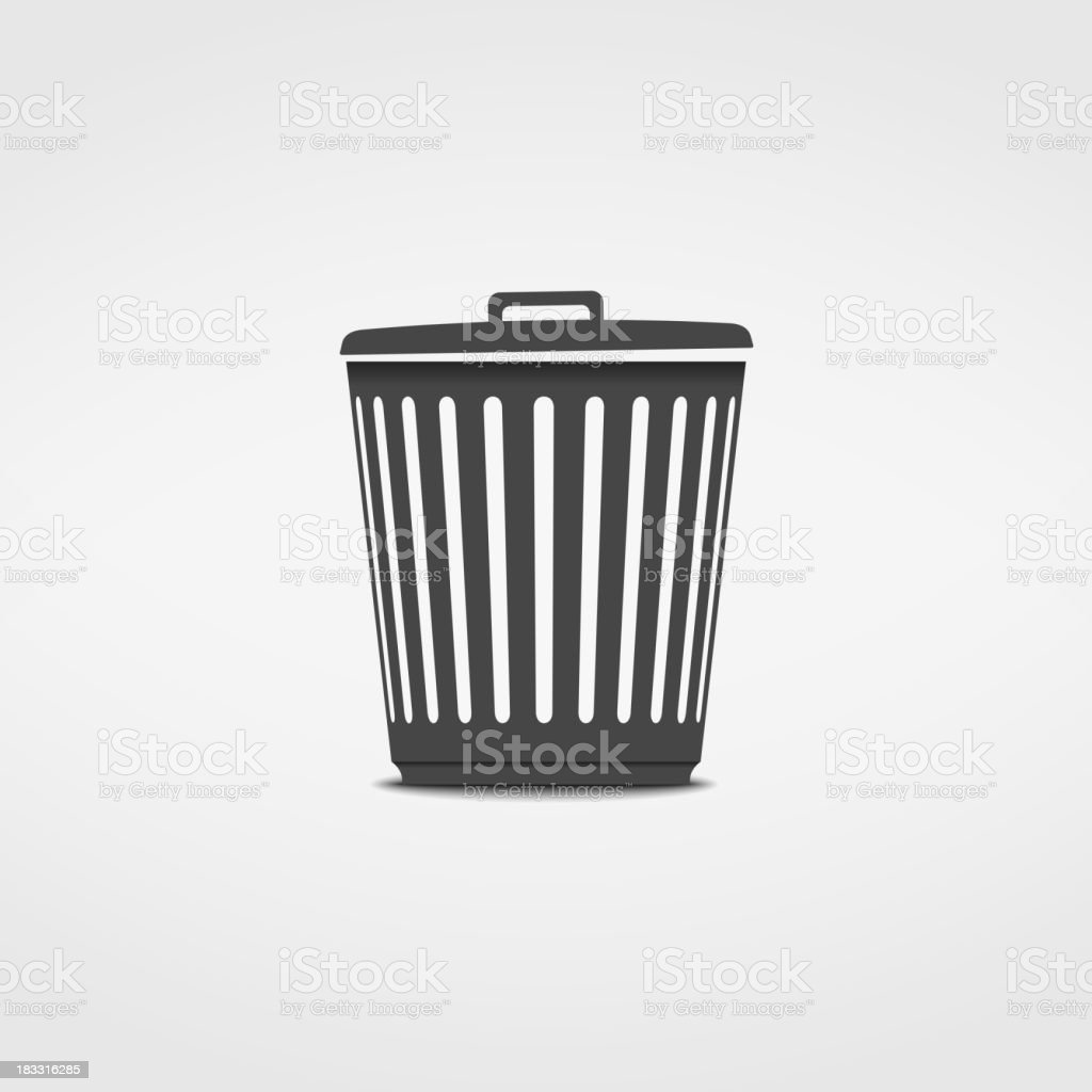 A black and white trash can symbol icon  vector art illustration