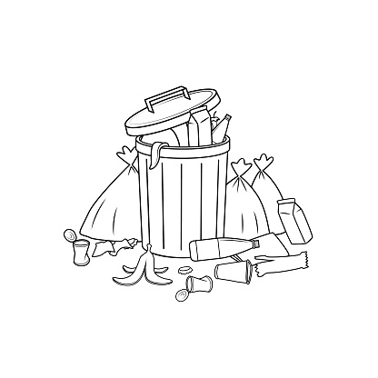 Black and White trash cans that are full of used things, such as bottles of water, garbage bags, food waste in a white background For assembly, Or create teaching material for mothers who do Homeschool And teachers who find pictures for teaching materials