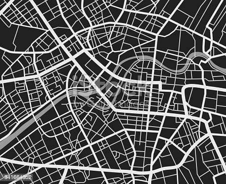 Black and white travel city map. Urban transport roads vector cartography background. City road background, cartography downtown, urban town navigation illustration