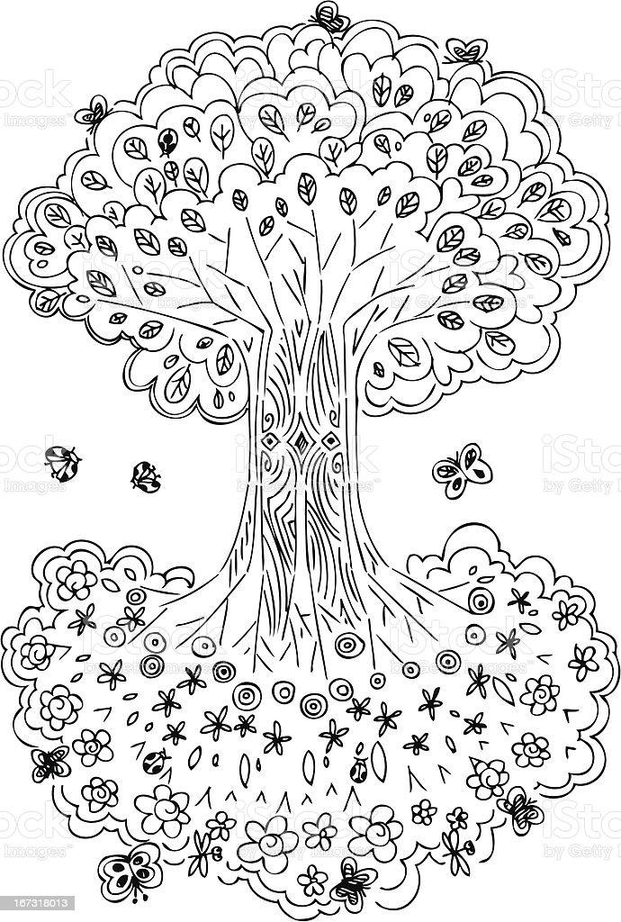 Ilustración De Blanco Y Negro De La Vida Del árbol Y Más Banco De