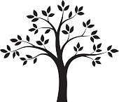 Fairy eco tree. Black and white vector illustration of tree with leafs. Design template