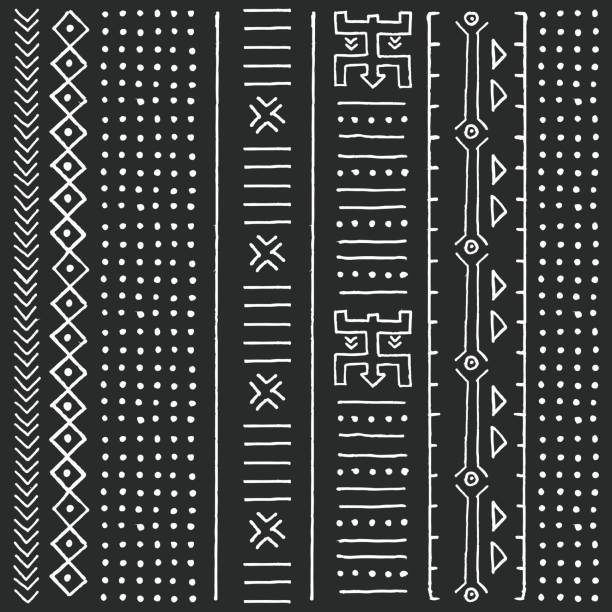 Black and white tribal ethnic pattern with geometric elements, traditional African mud cloth, tribal design, vector illustration vector art illustration