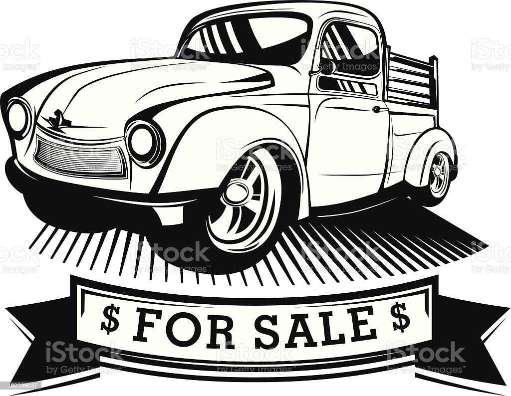 Black And White Truck Art for Sale royalty-free stock vector art