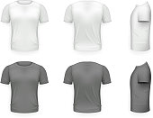 Black and White T-shirt Front Side Back View Template Realistic Design Icon Transparent Background Isolated Vector illustration